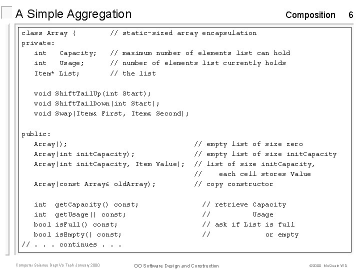 A Simple Aggregation class Array { private: int Capacity; int Usage; Item* List; Composition