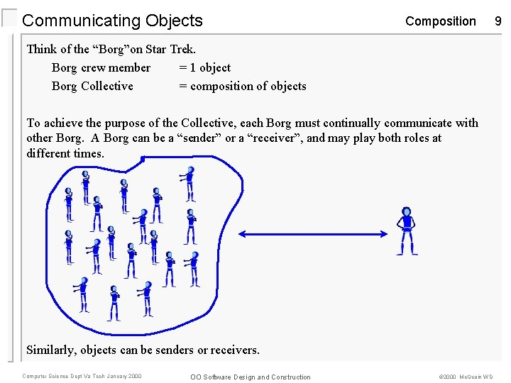 """Communicating Objects Composition Think of the """"Borg""""on Star Trek. Borg crew member = 1"""