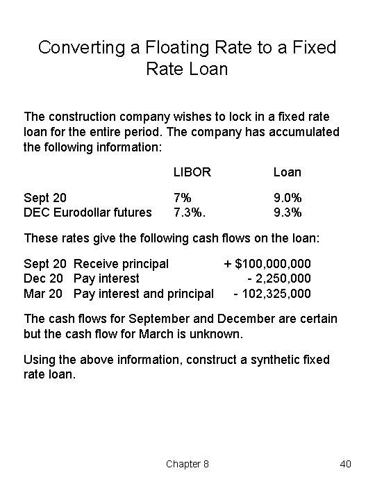 Converting a Floating Rate to a Fixed Rate Loan The construction company wishes to