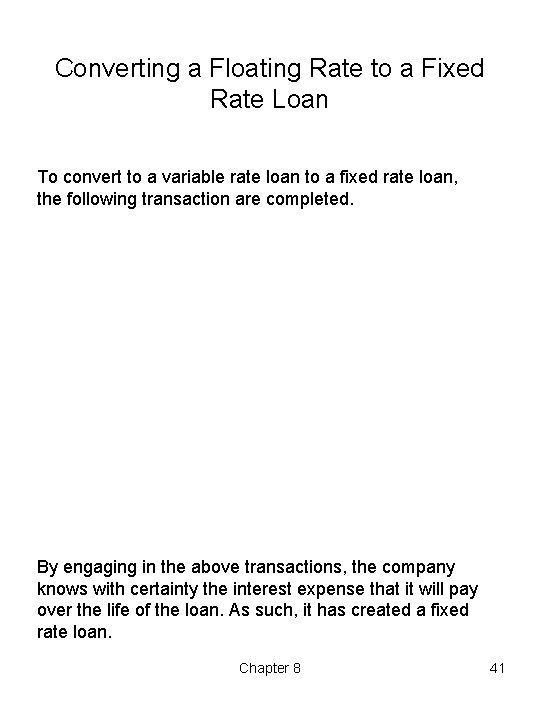 Converting a Floating Rate to a Fixed Rate Loan To convert to a variable