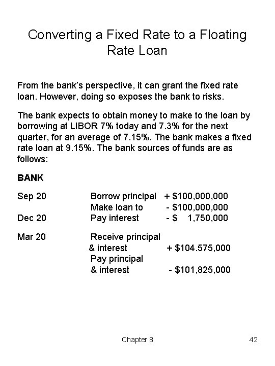 Converting a Fixed Rate to a Floating Rate Loan From the bank's perspective, it