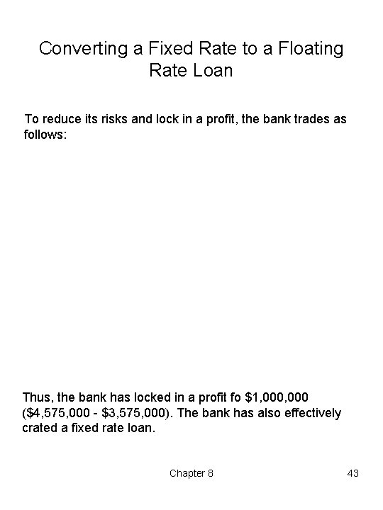 Converting a Fixed Rate to a Floating Rate Loan To reduce its risks and