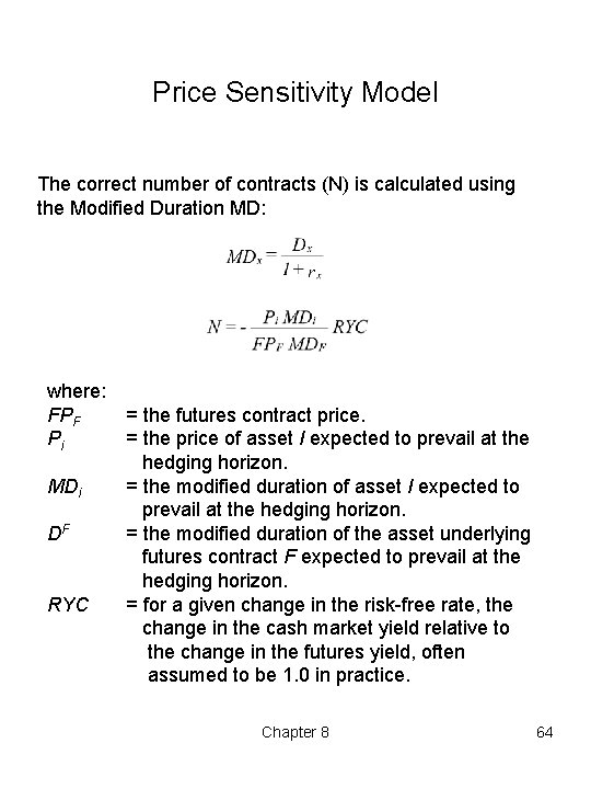 Price Sensitivity Model The correct number of contracts (N) is calculated using the Modified