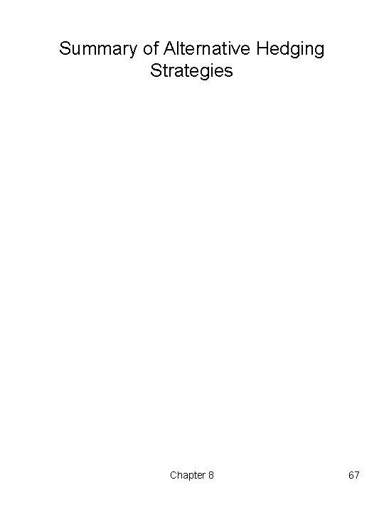 Summary of Alternative Hedging Strategies Chapter 8 67