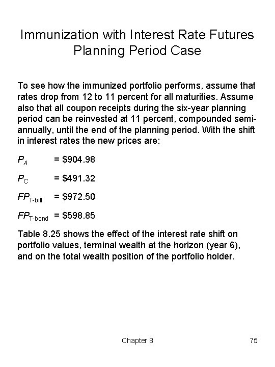 Immunization with Interest Rate Futures Planning Period Case To see how the immunized portfolio