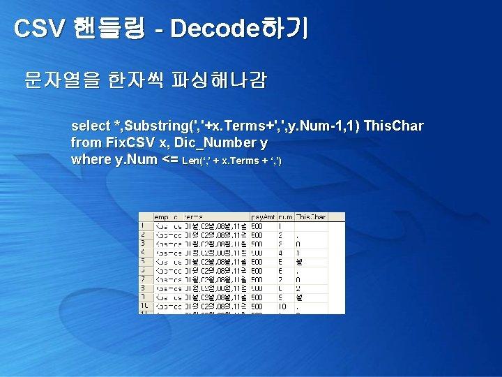 CSV 핸들링 - Decode하기 문자열을 한자씩 파싱해나감 select *, Substring(', '+x. Terms+', ', y.