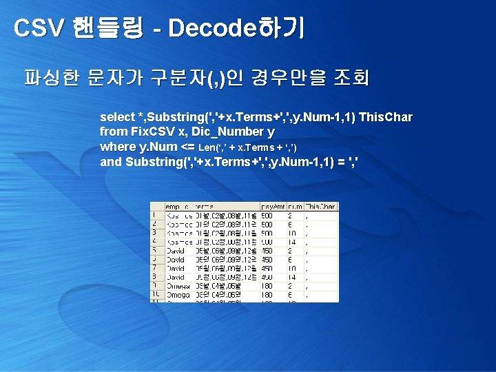 CSV 핸들링 - Decode하기 파싱한 문자가 구분자(, )인 경우만을 조회 select *, Substring(', '+x.