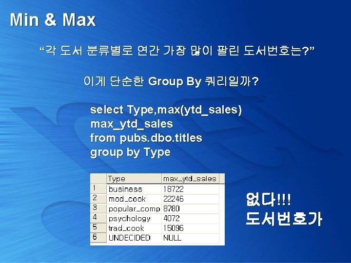 """Min & Max """"각 도서 분류별로 연간 가장 많이 팔린 도서번호는? """" 이게 단순한"""