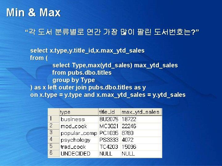 "Min & Max ""각 도서 분류별로 연간 가장 많이 팔린 도서번호는? "" select x."