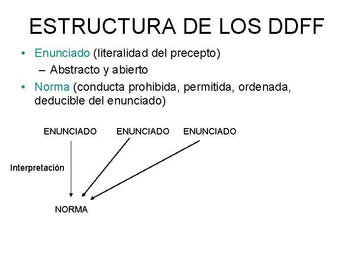ESTRUCTURA DE LOS DDFF • Enunciado (literalidad del precepto) – Abstracto y abierto •