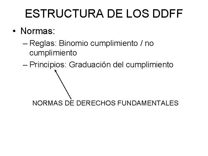 ESTRUCTURA DE LOS DDFF • Normas: – Reglas: Binomio cumplimiento / no cumplimiento –