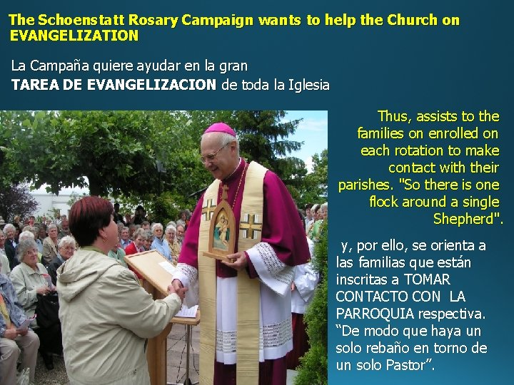 The Schoenstatt Rosary Campaign wants to help the Church on EVANGELIZATION La Campaña quiere
