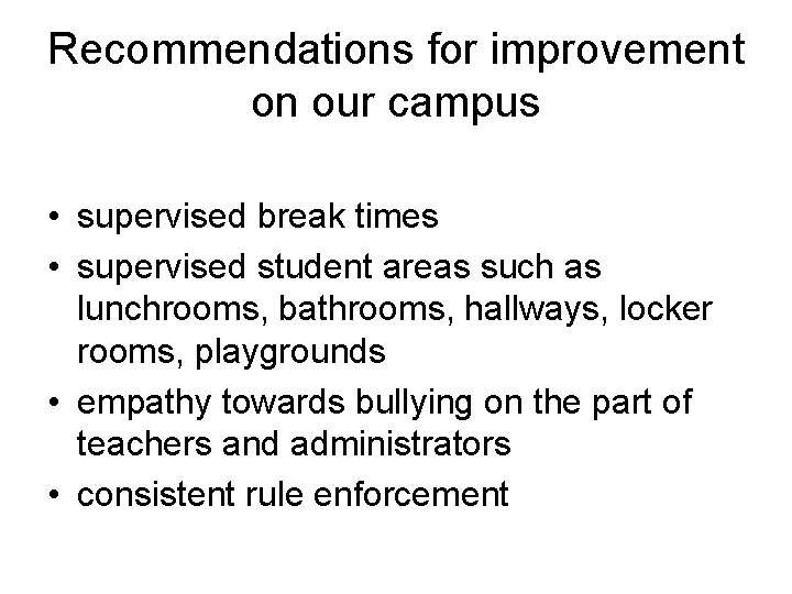 Recommendations for improvement on our campus • supervised break times • supervised student areas