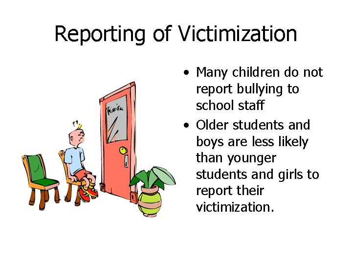 Reporting of Victimization • Many children do not report bullying to school staff •