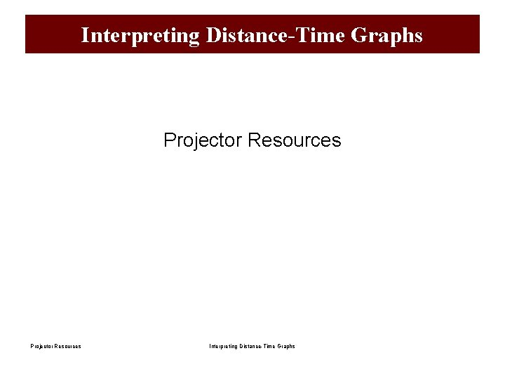 Interpreting Distance-Time Graphs Projector Resources Interpreting Distance-Time Graphs
