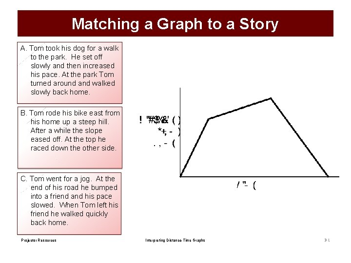 Matching a Graph to a Story A. Tom took his dog for a walk