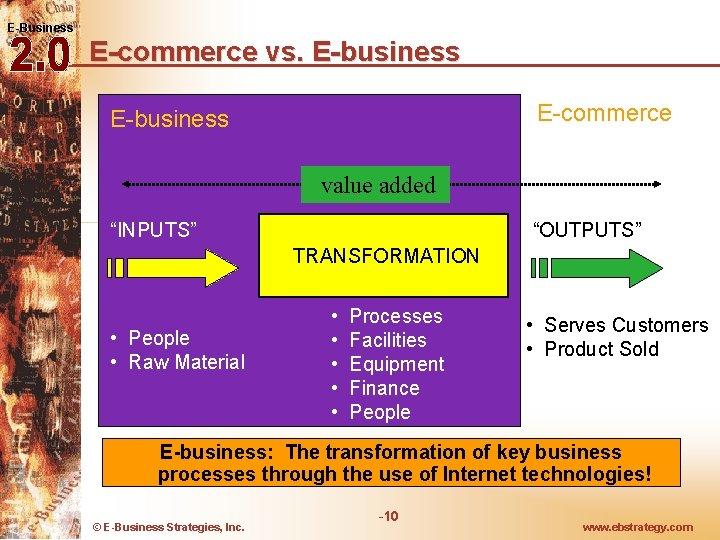 "E-Business E-commerce vs. E-business E-commerce E-business value added ""INPUTS"" ""OUTPUTS"" TRANSFORMATION • People •"