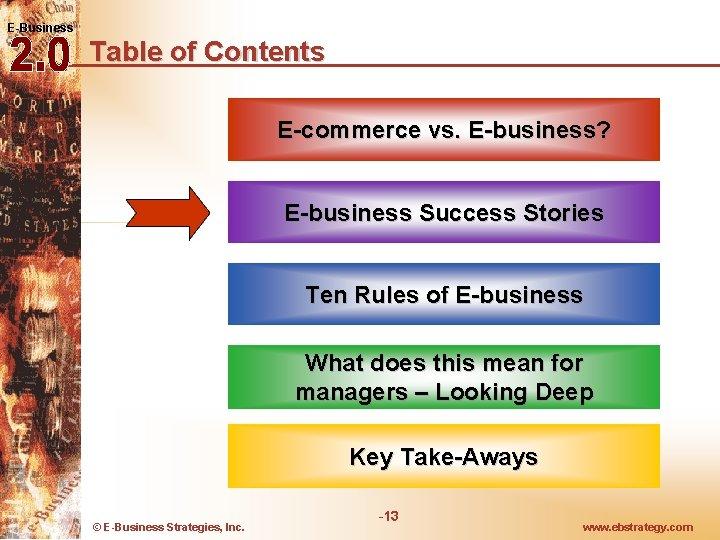 E-Business Table of Contents E-commerce vs. E-business? E-business Success Stories Ten Rules of E-business