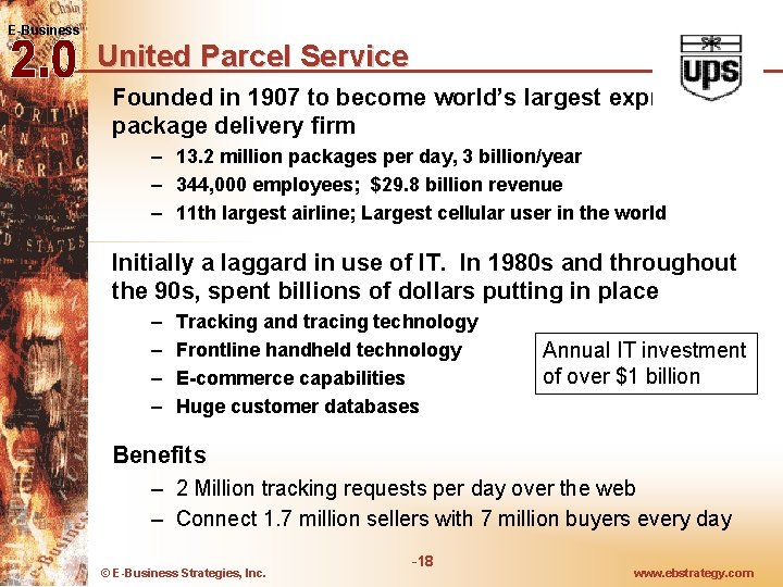 E-Business United Parcel Service Founded in 1907 to become world's largest express and package