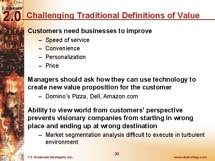 E-Business Challenging Traditional Definitions of Value Customers need businesses to improve – – Speed