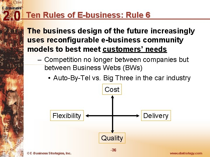 E-Business Ten Rules of E-business: Rule 6 The business design of the future increasingly