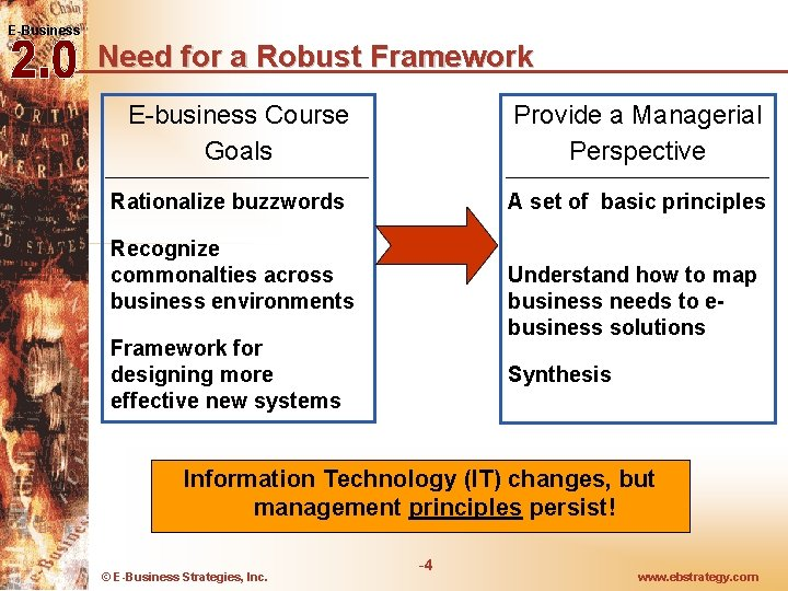 E-Business Need for a Robust Framework E-business Course Goals Provide a Managerial Perspective Rationalize