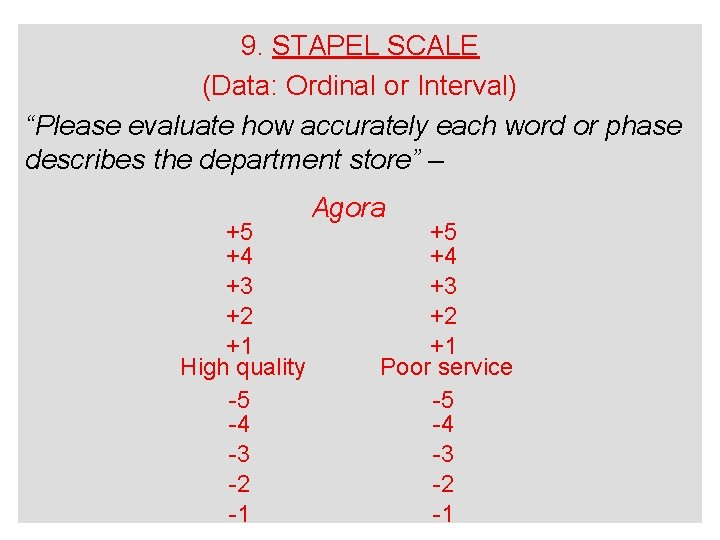 """9. STAPEL SCALE (Data: Ordinal or Interval) """"Please evaluate how accurately each word or"""