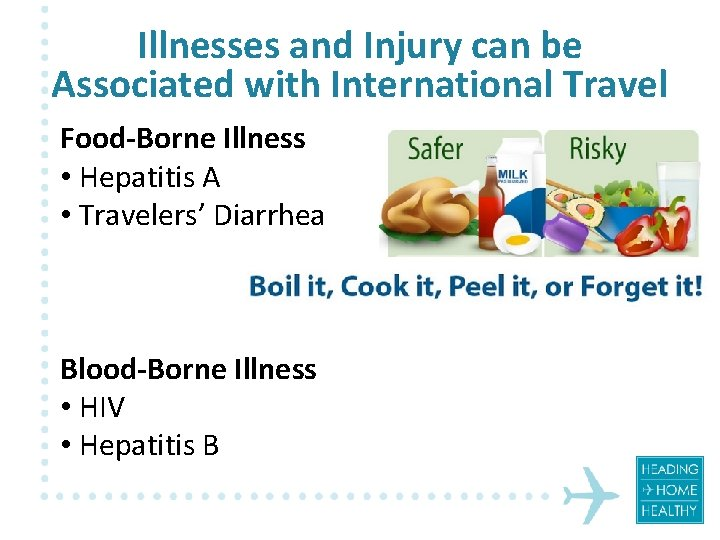 Illnesses and Injury can be Associated with International Travel Food-Borne Illness • Hepatitis A