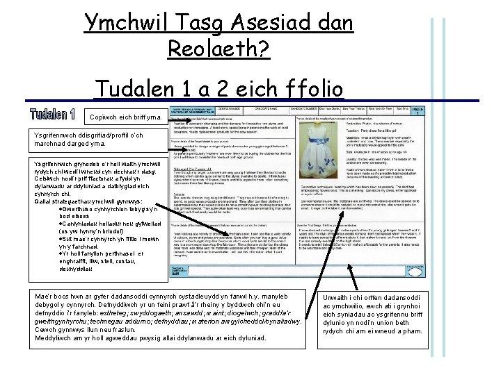 Ymchwil Tasg Asesiad dan Reolaeth? Tudalen 1 a 2 eich ffolio Copïwch eich briff