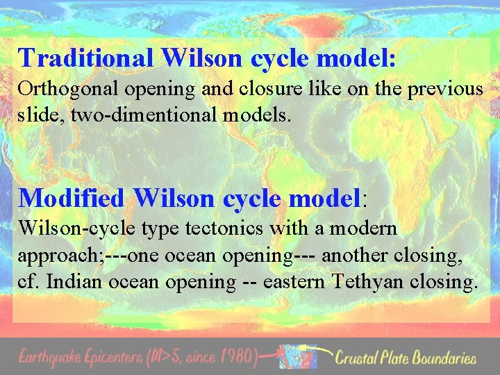 Traditional Wilson cycle model: Orthogonal opening and closure like on the previous slide, two-dimentional