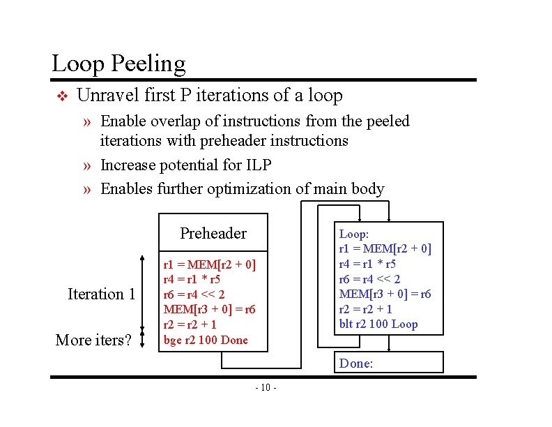 Loop Peeling v Unravel first P iterations of a loop » Enable overlap of