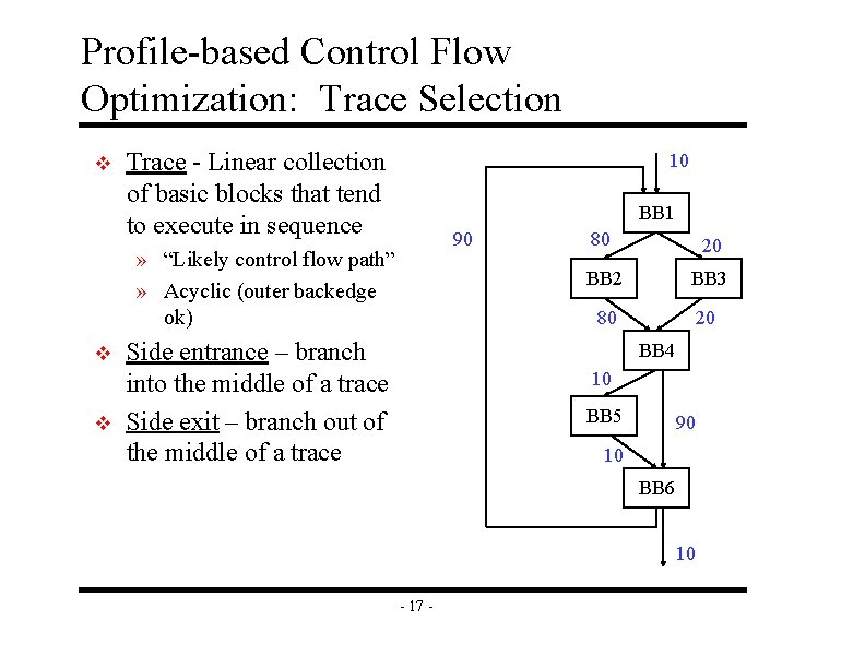 Profile-based Control Flow Optimization: Trace Selection v Trace - Linear collection of basic blocks