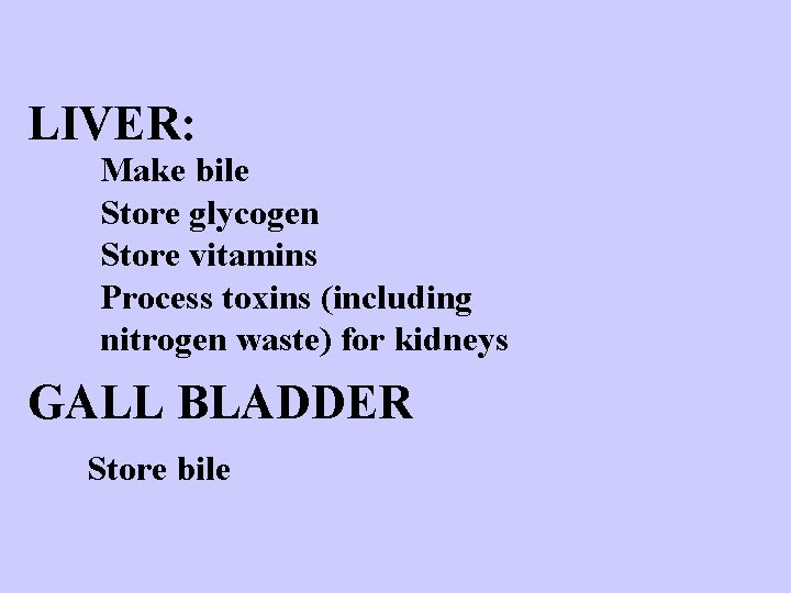 LIVER: Make bile Store glycogen Store vitamins Process toxins (including nitrogen waste) for kidneys