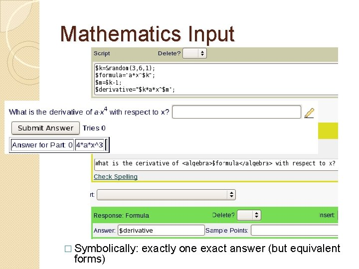 Mathematics Input � Symbolically: forms) exactly one exact answer (but equivalent