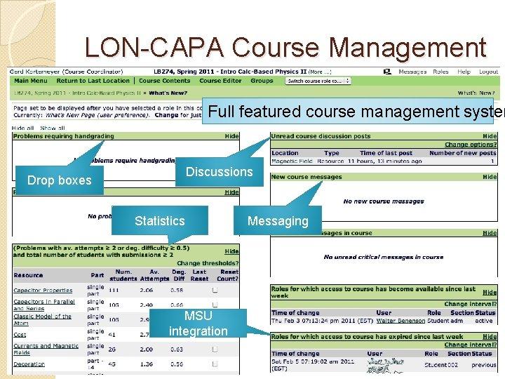 LON-CAPA Course Management Full featured course management system Discussions Drop boxes Statistics MSU integration