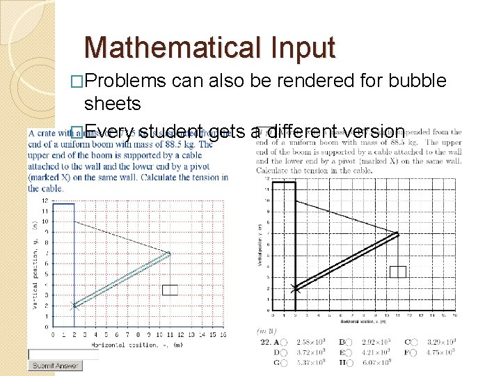 Mathematical Input �Problems can also be rendered for bubble sheets �Every student gets a