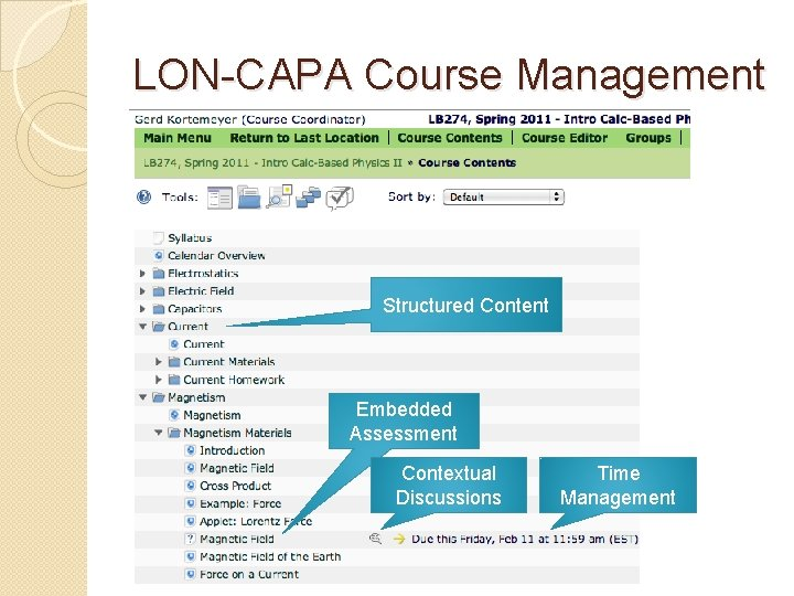 LON-CAPA Course Management Structured Content Embedded Assessment Contextual Discussions Time Management