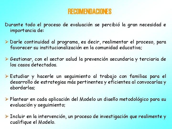 RECOMENDACIONES Durante todo el proceso de evaluación se percibió la gran necesidad e importancia