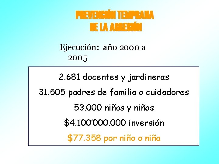 PREVENCIÓN TEMPRANA DE LA AGRESIÓN Ejecución: año 2000 a 2005 2. 681 docentes y