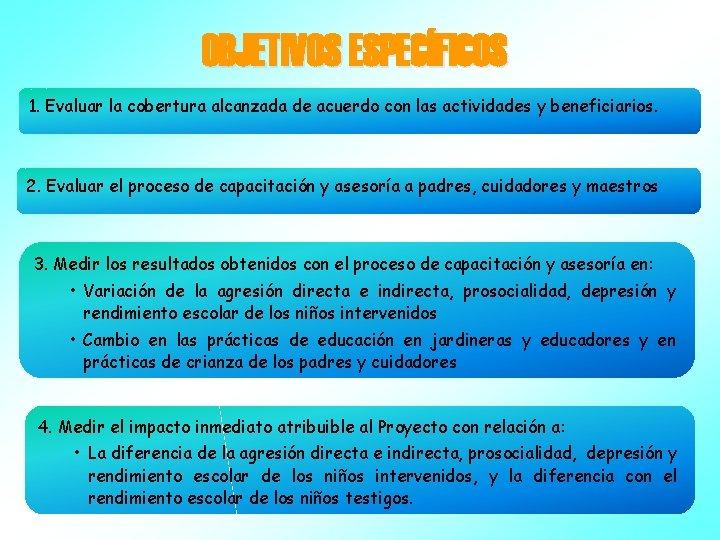 OBJETIVOS ESPECÍFICOS 1. Evaluar la cobertura alcanzada de acuerdo con las actividades y beneficiarios.