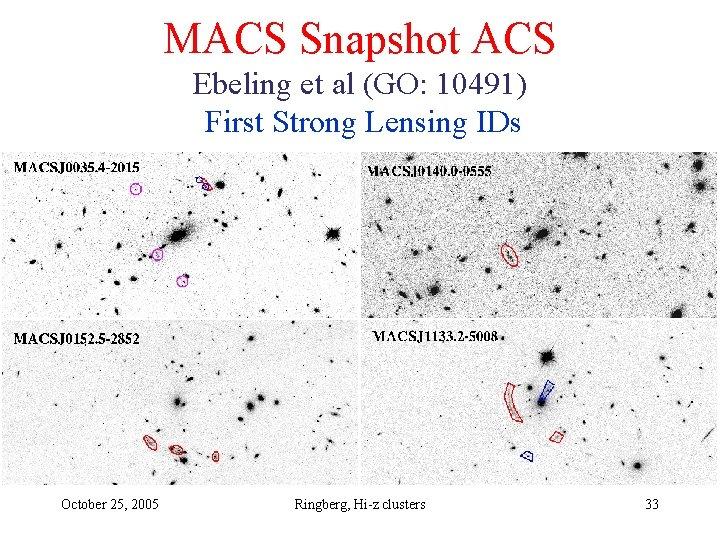 MACS Snapshot ACS Ebeling et al (GO: 10491) First Strong Lensing IDs October 25,