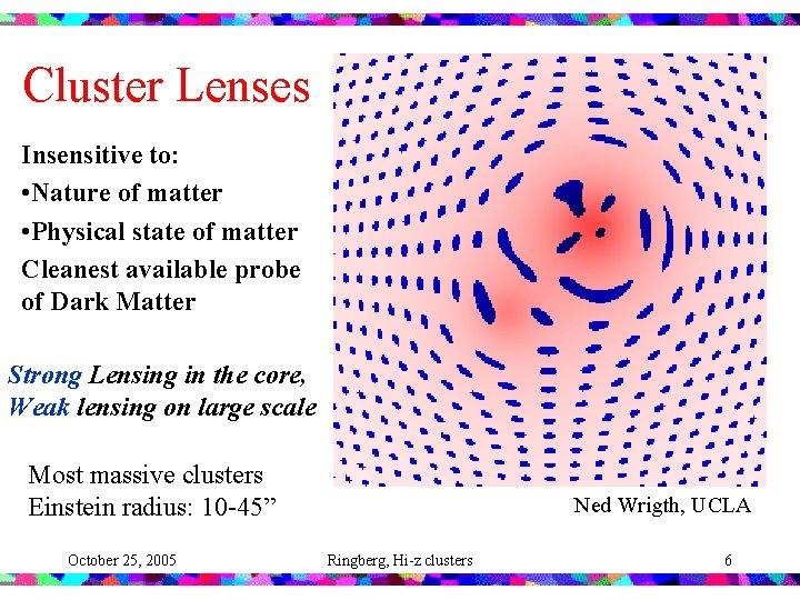 Cluster Lenses Insensitive to: • Nature of matter • Physical state of matter Cleanest