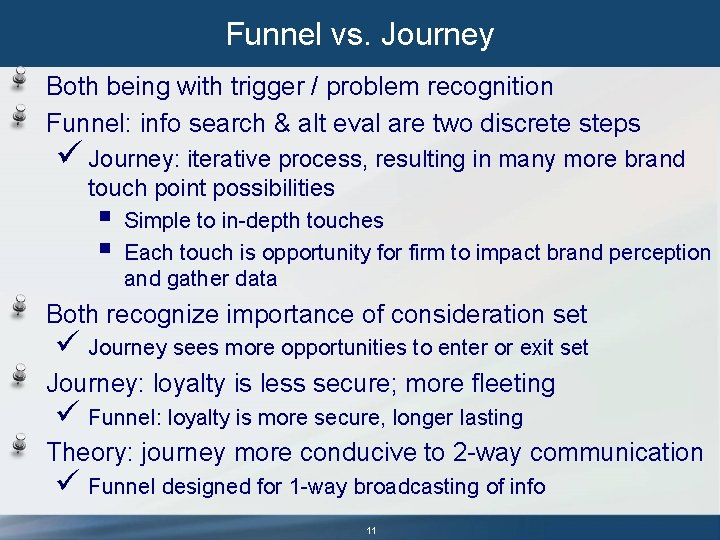 Funnel vs. Journey Both being with trigger / problem recognition Funnel: info search &