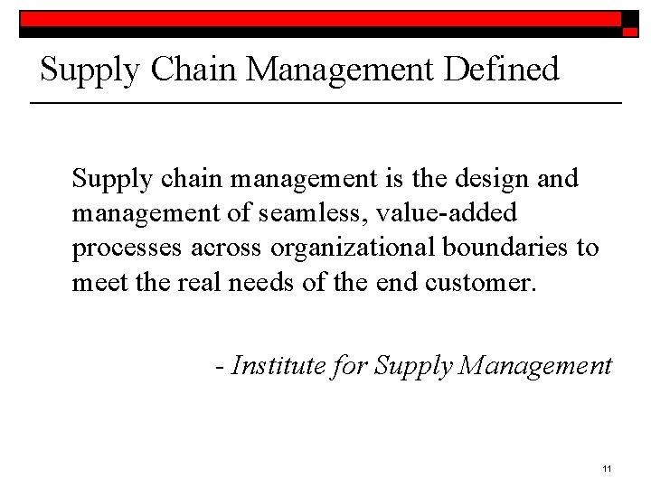 Supply Chain Management Defined Supply chain management is the design and management of seamless,