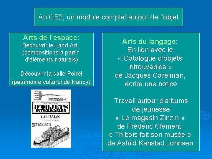 Au CE 2, un module complet autour de l'objet Arts de l'espace: Découvrir le