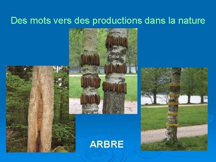 Des mots vers des productions dans la nature ARBRE