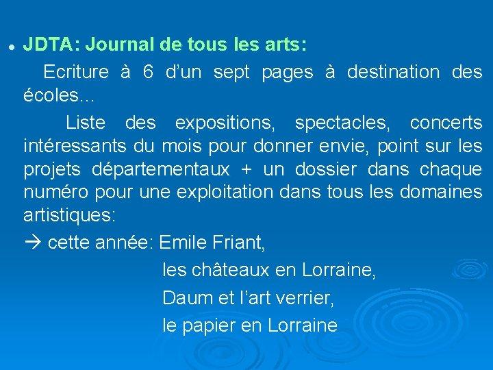 JDTA: Journal de tous les arts: Ecriture à 6 d'un sept pages à destination