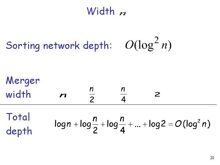 Width Sorting network depth: Merger width Total depth 20