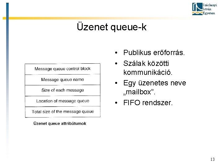 Széchenyi István Egyetem Üzenet queue-k • Publikus erőforrás. • Szálak közötti kommunikáció. • Egy