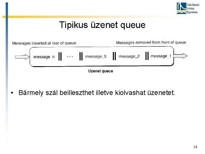 Széchenyi István Egyetem Tipikus üzenet queue • Bármely szál beilleszthet illetve kiolvashat üzenetet. 14